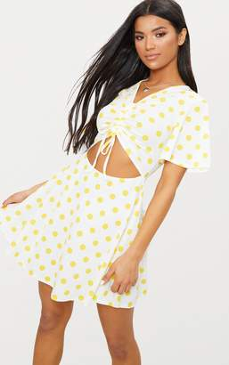 PrettyLittleThing Red Polka Dot Cut Out Ruched Detail Swing Dress