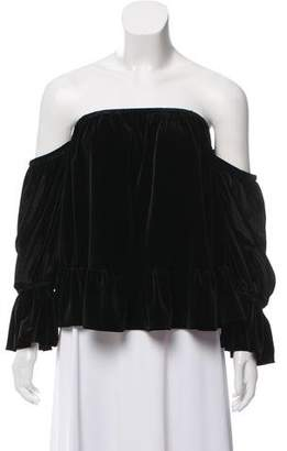 MISA Los Angeles Velour Off-The-Shoulder Top w/ Tags
