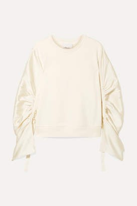 d97b98f79e2e95 3.1 Phillip Lim Ruched Grosgrain-trimmed Satin-twill And Cotton-jersey  Sweatshirt -