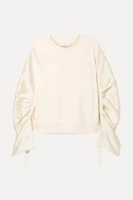 3.1 Phillip Lim Ruched Grosgrain-trimmed Satin-twill And Cotton-jersey Sweatshirt - Cream