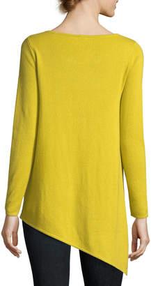 Neiman Marcus Long Asymmetric Crewneck Cashmere Pullover