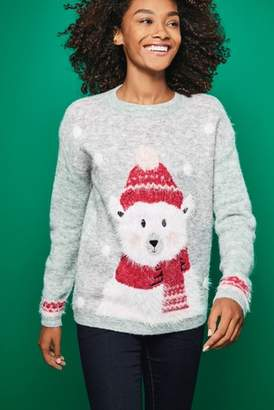 Next Womens Grey Polar Bear Christmas Sweater