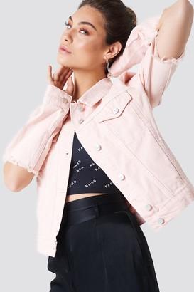 NA-KD Na Kd Cut Out Sleeve Denim Jacket Light Pink
