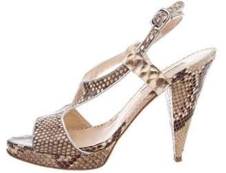 Oscar de la Renta Python Ankle Strap Sandals