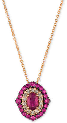 "LeVian Le Vian Strawberry & Nude Passion Ruby (1-1/4 ct. t.w.) & Diamond (1/4 ct. t.w.) 18"" Pendant Necklace in 14k Rose Gold"