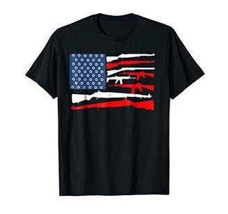 American Flag Rifles Holes T Shirt Red White Blue