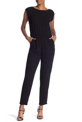 Sharagano Crew Neck Cap Sleeve Jumpsuit