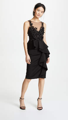 Marchesa 3D Beaded Ruffle Dress
