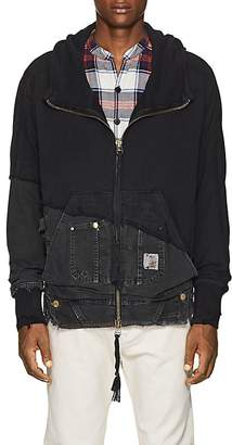 Greg Lauren Men's Cotton Terry & Canvas Hoodie