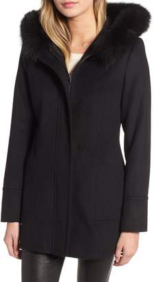 Kristen Blake Genuine Fox Fur Trim Hooded Wool Coat