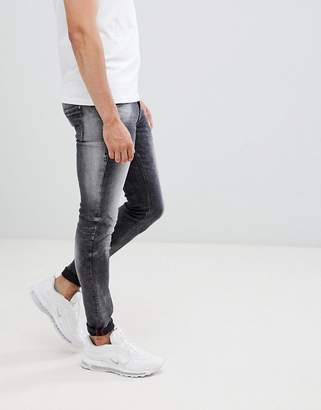 Blend of America distressed super skinny jeans in washed black