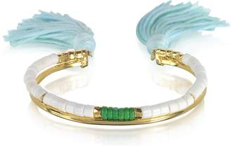 Aurelie Bidermann 18K Gold-Plated & White Bamboo and Green Jaspe Beads Sioux Bracelet w/Light Blue Cotton Tassels