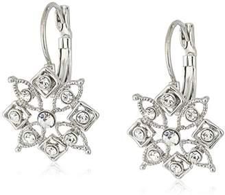 1928 Jewelry Silver-Tone Crystal 8-Point Drop Earrings