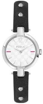 Furla Linda Stainless Steel Leather-Strap Watch