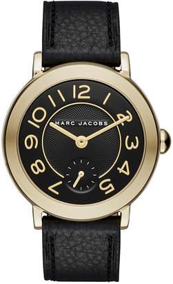 Marc Jacobs Women Riley Black Leather Strap Watch 36mm