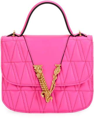 Versace Trapuntata Leather Top-Handle Bag