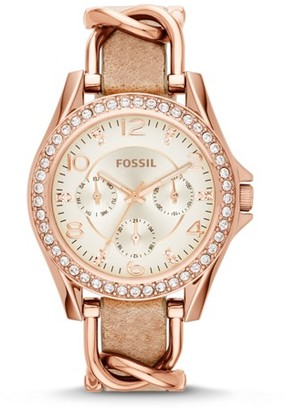 Fossil Riley Multifunction Rose-Tone & Sand Leather Watch