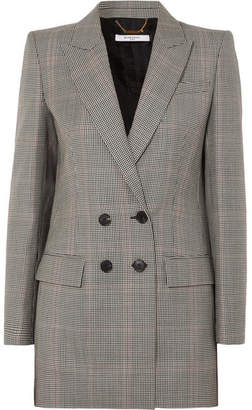 Givenchy Double-breasted Houndstooth Wool-blend Blazer - Black