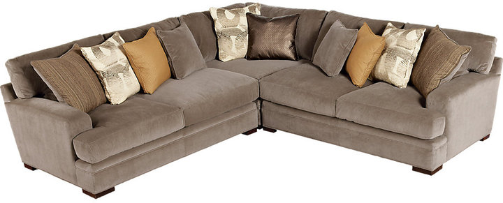 Rooms To Go Cindy Crawford Fontaine Brown 3Pc Sectional