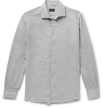 Ermenegildo Zegna Melange Cotton and Linen-Blend Oxford Shirt - Men - Gray