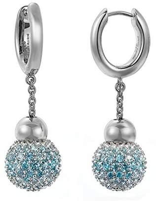 Pierre Cardin Women'S Creole Earrings 925 Sterling Silver Rhodium Plated Glass Zirconia S.PCCO90211D000 Réunion, Blue