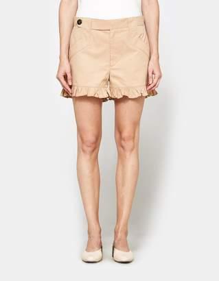 Ganni Phillips Cotton Shorts in Cuban Sand