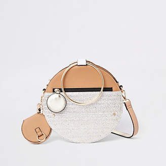 River Island Beige gold tone handle round cross body bag