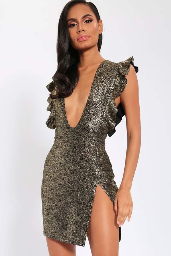 Isawitfirst Gold Frill Detail Plunge Neck Mini Dress