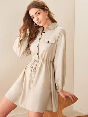 Shein Drawstring Waist Button Front Pocket Patch Dress