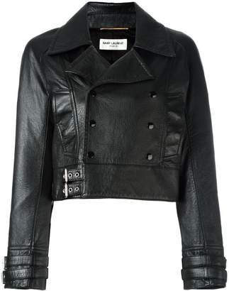 Saint Laurent cropped leather biker jacket