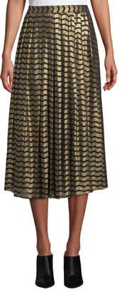 MICHAEL Michael Kors Swing Stripe A-Line Midi Skirt
