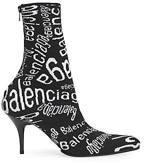 Balenciaga Women's Monogram Knit Ankle Boots