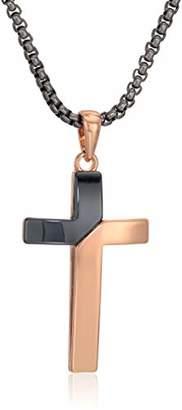 "Steve Madden Men's Two-Tone Diagonal Design Cross Necklace on 26"" Box Chain Stainless Steel"