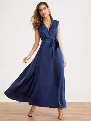 Shein Shawl Collar Self Belted Wrap Satin Dress