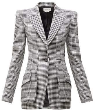 Alexander McQueen Single Breasted Houndstooth Wool Blazer - Womens - Black White