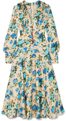 f1080129b8e Gucci Floral-print Silk-twill Midi Dress - Blue