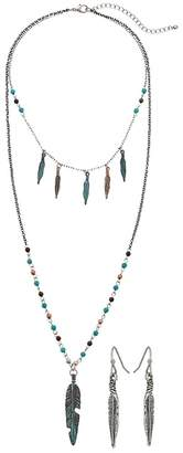 M&F Western Mixed Metal Feather Long Necklace/Earrings Set Jewelry Sets