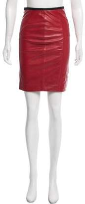 Veda Leather Slit-Accented Skirt