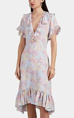 Warm Women's Sunday Dot-Floral Silk Jacquard Midi-Dress - Pink