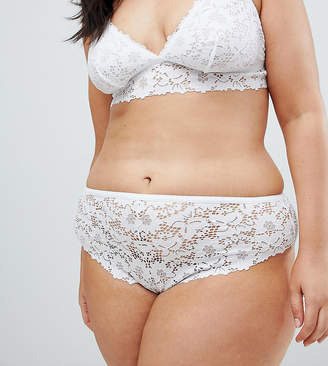 New Look Plus Curve lace thong on white