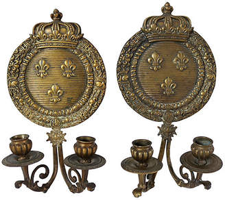 One Kings Lane Vintage 1920s French Bronze Crown Sconces - Set of 2 - Rose Victoria