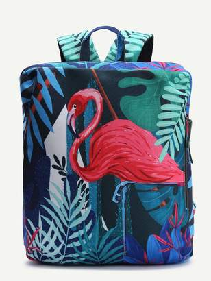 Shein Bird Pattern Casual Canvas Backpack