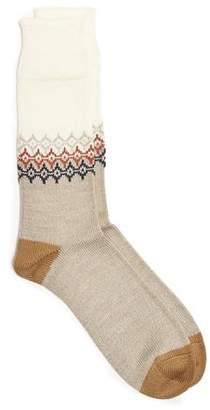 Corgi Fairisle Sock in Cream