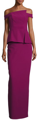 Black Halo Off-the-Shoulder Peplum Column Gown, Cranberry $600 thestylecure.com
