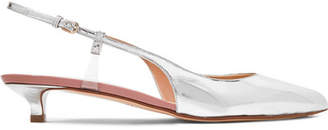 Francesco Russo Pvc-trimmed Metallic Leather Slingback Pumps - Silver