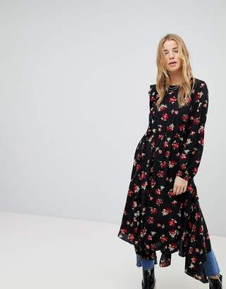 Miss Selfridge Floral Hanky Hem Dress