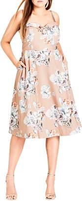 City Chic Paper Floral Tea Length Dress