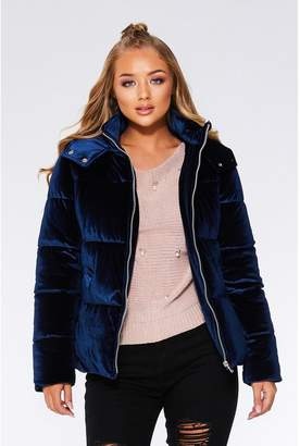 Quiz Navy Velvet Puffer Jacket