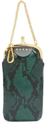 Marni Python Effect Leather Clutch - Womens - Green
