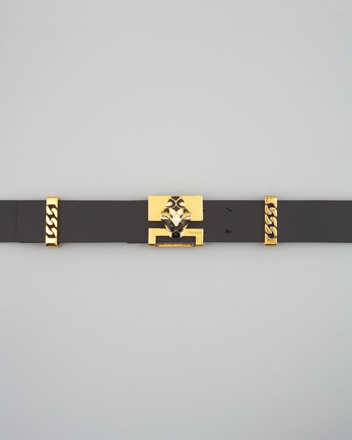 Gucci Panther and Chain Belt, Black
